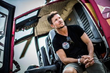 Felix Baumgartner poses for a portrait at the World Helicopter Championships 2015, Zielona Gora on August 15th, 2015 // Kin Marcin/Red Bull Content Pool // P-20150815-00138 // Usage for editorial use only // Please go to www.redbullcontentpool.com for further information. //